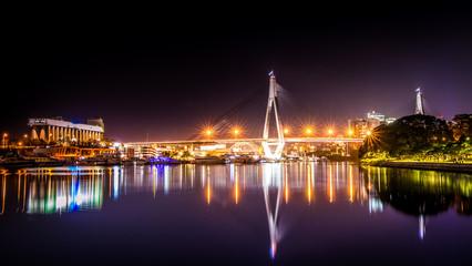 ANZAC Bridge night time long exposure. Relfection of city lights.