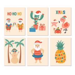 Christmas holiday greeting card set with Santa claus on sea beach
