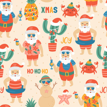 Seamless pattern for Christmas holiday with Santa Claus on sea beach.