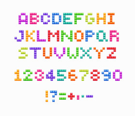 Crystal pixel font, retro video game design. Vector colorful alphabet.