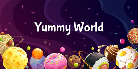 Yummy world. Colorful cartoon food planets on the space background.