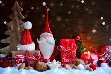 Weihnachtsmann mit Geschenken - Weihnachtskarte