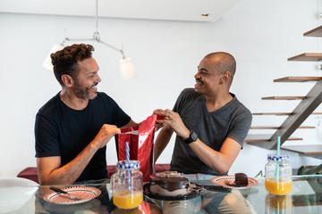 Gay Couple Celebrating Birthday at Home