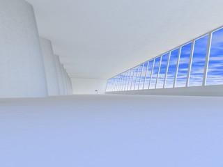 empty light toned corridor in modern building, 3D rendering