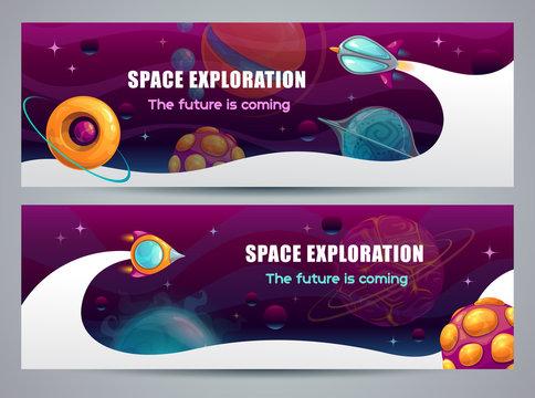 Space exploration concept, horizontal web banner. Cartoon rocket launch.