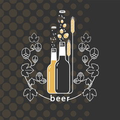 Beer bottle, hop branch with leaves and wheat ears. Vector icon. Craft beer with brewing ingredients. Illustration for brewery, pub, bar, restaurant. Modern line style.