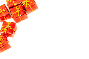 packages with presents on a white background with empty space for wishes or dedications.