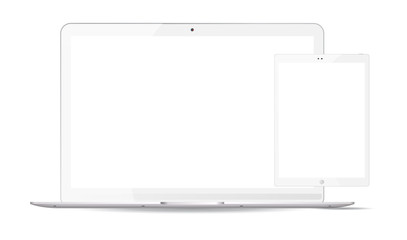 White laptop and tablet pc mockup set. Mobile devices vector illustration. Notebook and phablet isolated on white background.