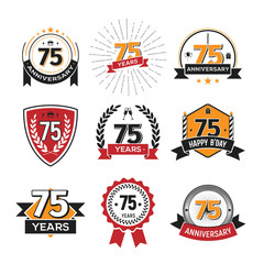 Collection of retro 75 th years anniversary logo. Set of Isolated vintage icons of seventy-five years celebrating vector illustration