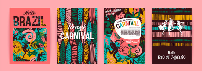 Brazil carnival. Vector templates with trendy abstract elements. Wall mural