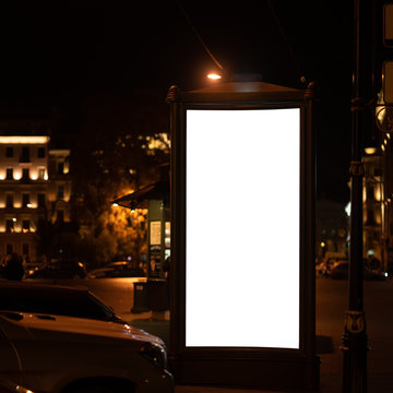 advertising pylon, Advertising light boxes in the city at night. for your design