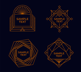 Geometric frames. Set of Line Art decorative.