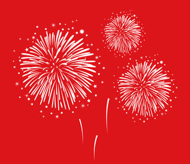 Hand drawn fireworks – vector