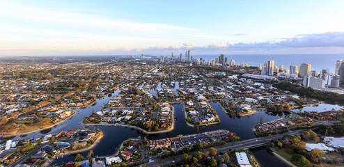 Superb view towards Broadbeach and Surfers Paradise in the Gold Coast at sunrise