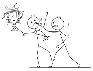 Cartoon stick drawing conceptual illustration of man or businessman attacking trophy cup and medal winner.