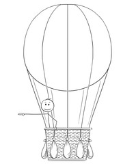 Konturgeschnittene Aufkleber Cartoon stick drawing conceptual illustration of man or businessman in hot air balloon pointing his hand at something on his side, possibly sign or text.