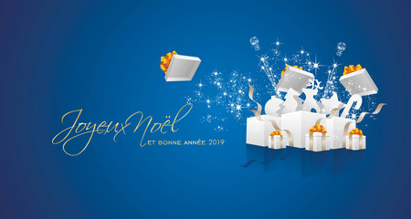 Merry Christmas and Happy New Year 2019 French language Joyeux noel et bonne annee firework white box blue greeting card