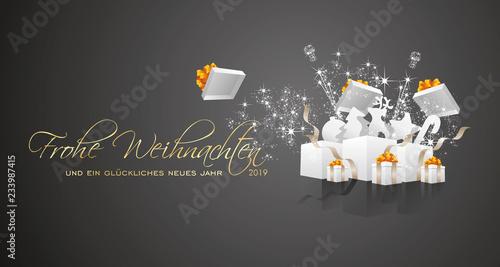 Frohe Weihnachten Und Happy New Year.Merry Christmas And Happy New Year 2019 German Language Frohe