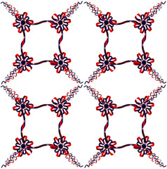 Seamless ribbon rosette pattern