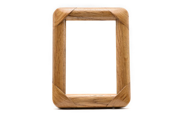 Antique wooden photo frame on an isolated white background