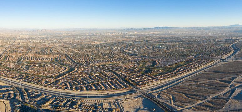 Aerial View of Freeway and Housing Developments Near Las Vegas, Nevada