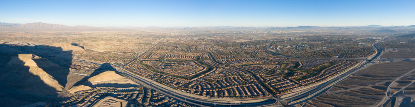 Aerial Panorama of Housing Developments Near Las Vegas, Nevada