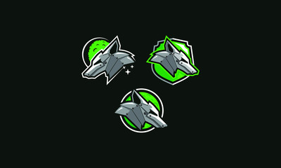 Wolf robot machine logo icon vector
