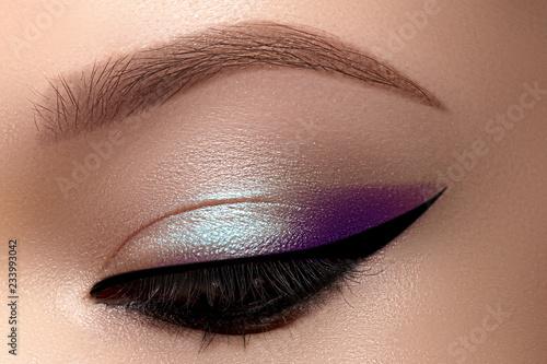 5ad9dbd64b5 Celebrate Macro Eyes with Smoky Cat Eye Makeup. Cosmetics and Make-up.  Closeup of Fashion Visage with Liner, Eyeshadows