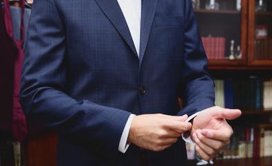 Man get dressed elegant suit