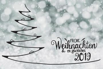 Tree, Glueckliches 2019 Means Happy 2019, Dark Gray Background