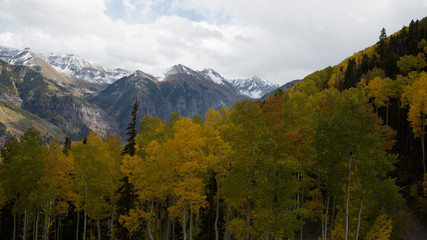 Telluride, Colorado in the fall.  Golden in color and beautiful mountain views