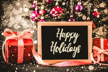 Bright Tree, Presents, Calligraphy Happy Holidays, Snowflakes