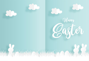 Easter concept paper cute style with cute family rabbit and Easter eggs. Vector illustration.