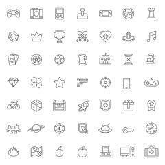 big set of game activities icons vector design with simple outline and modern style, editable stroke