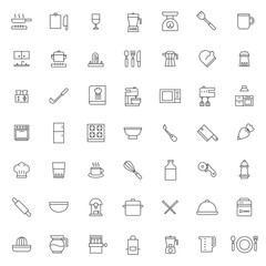 big set of kitchen set icons vector design with simple outline and modern style, editable stroke