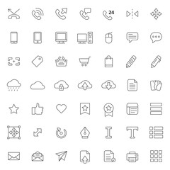 big set of ui - ux icons vector design with simple outline and modern style, editable stroke