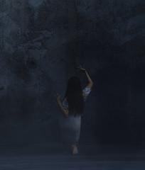 Ghost woman in a dark room,3d rendering