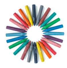 Fototapete - crayon multicolored circle in a row.