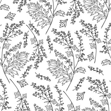 Seamless floral vector pattern Artemisia vulgaris, wormwood common hand drawn ink sketch illustration isolated on white background, Also called absinthium, Absinthe plant for design cosmetic, textile