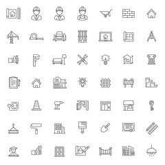 set of architecture construction icon, with simple outline concept and editable stroke, vector eps 10