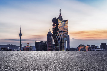 Panoramic skyline and modern buildings with empty road in Macao