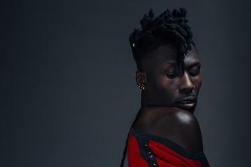 Sensitive Studio portrait of a Male African American Model