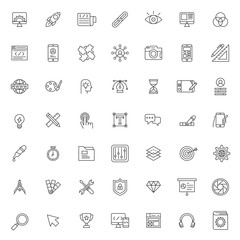 big set of web design icon vector design with simple outline and modern style, editable stroke vector eps 10