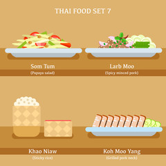 Set of Thai Food : Vector Illustration