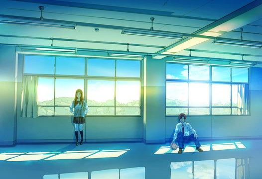 教室で佇む高校生
