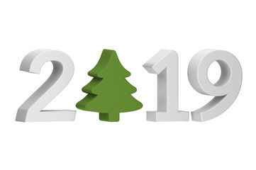 Christmas tree or conifer with numbers isolated on white for Merry Christmas or Happy New Year 2019 - cartoon 3d render