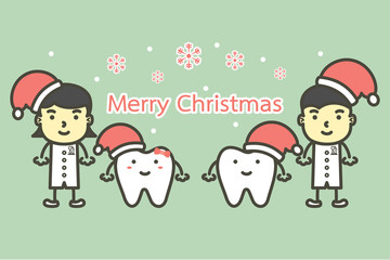 happy tooth and dentist wearing santa claus hat for Merry Christmas and Happy New Year - dental cartoon vector