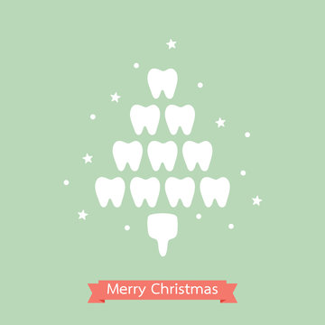 healthy tooth in the shape of Christmas tree for Merry Christmas and Happy New Year - dental cartoon vector