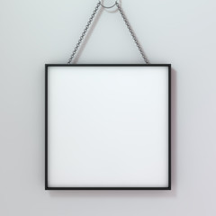 White blank photo frame mockup over background. 3D