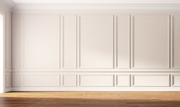 Classic empty room with beige wall and wooden floor. 3d illustration